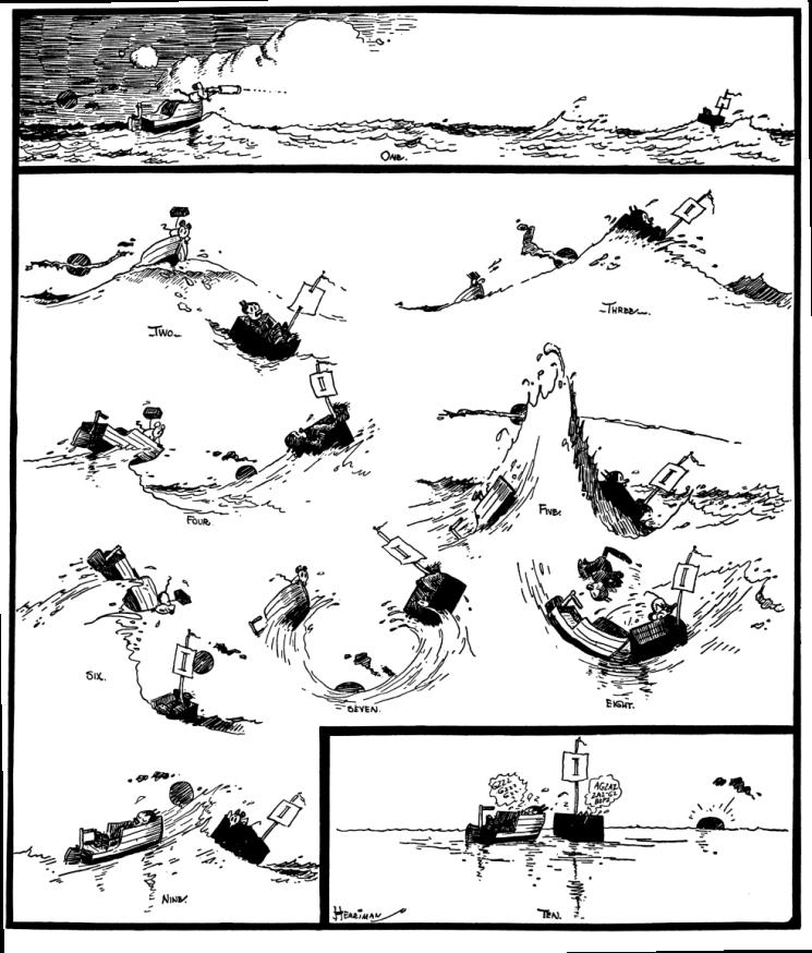 Outro exemplo da obsessão de Ignatz (setembro de 1916). Note a ausência de molduras nos painéis e como o movimento das ondas conduz o olho do leitor.