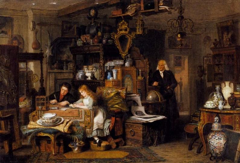 The Old Curiosity Shop, óleo de John Watkins Chapman