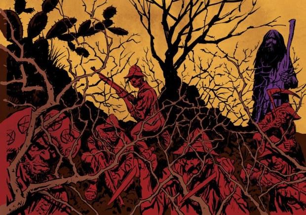 Ilustração da adaptação para quadrinhos por Rodrigo Rosa.