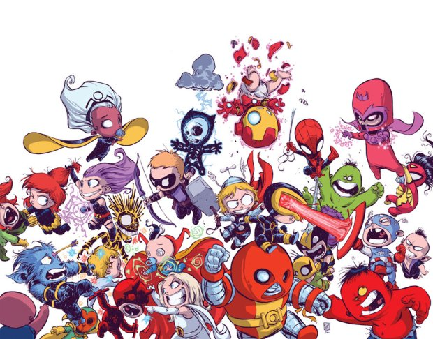 Vingadores vs. X-Men, por Skottie Young.