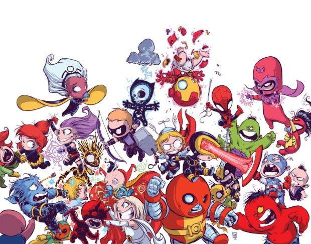 Vingadores vs. X-Men, por Skottie Young.