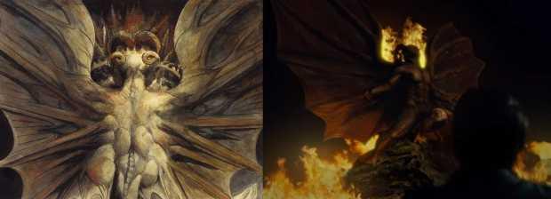 Todos saúdem o dragão. À esquerda, o Grande Dragão Vermelho de Blake. À direita, Dolarhyde alucina.